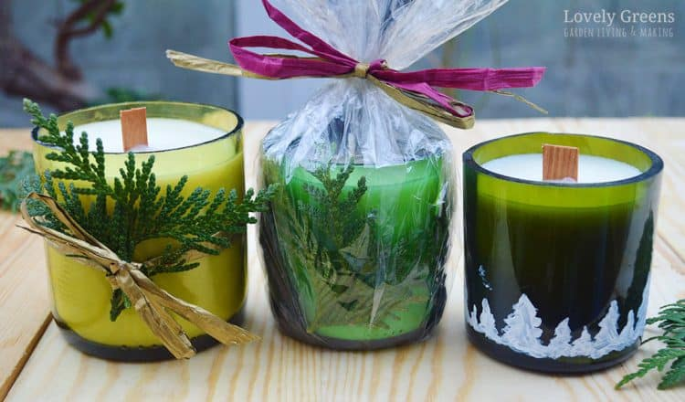 Wine bottle and wooden wick winter candles