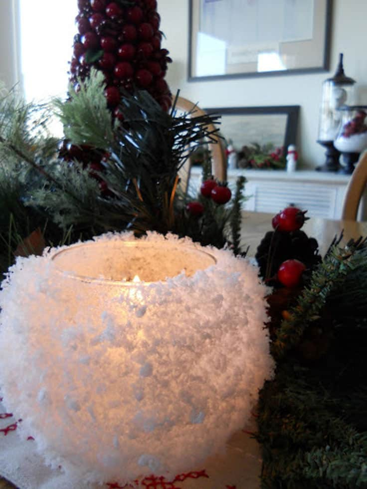 Winter snowball candle holders