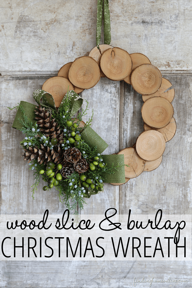 Wood slice and burlap Christmas leaf