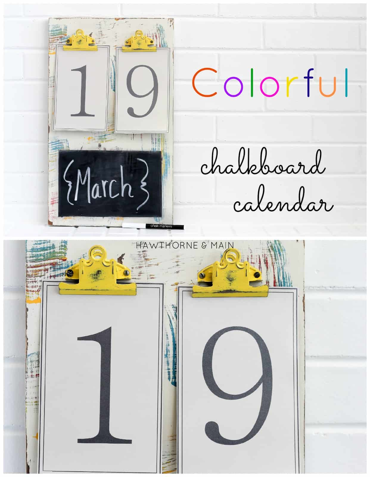 Colourful chalkboard wall calendar