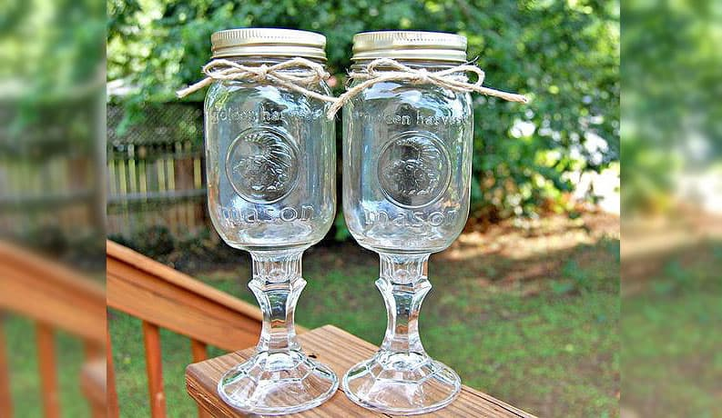 Country inspired mason jar wine glasses