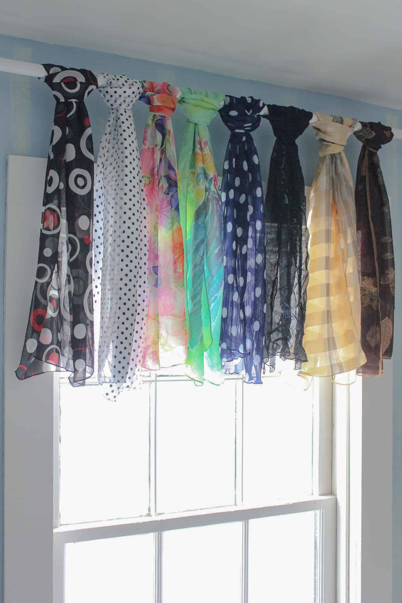 Creative no-sew window valance from knotted scarves