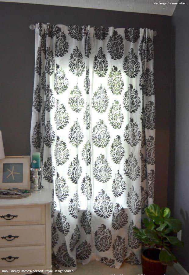 Custom Stencilled drapes