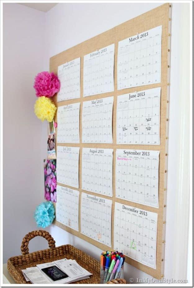 Custom pinboard calendar