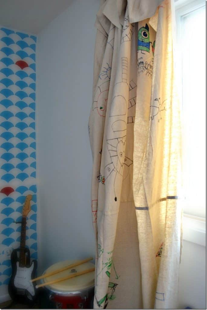 Custome Sharpie doodled no-sew drop cloth curtains