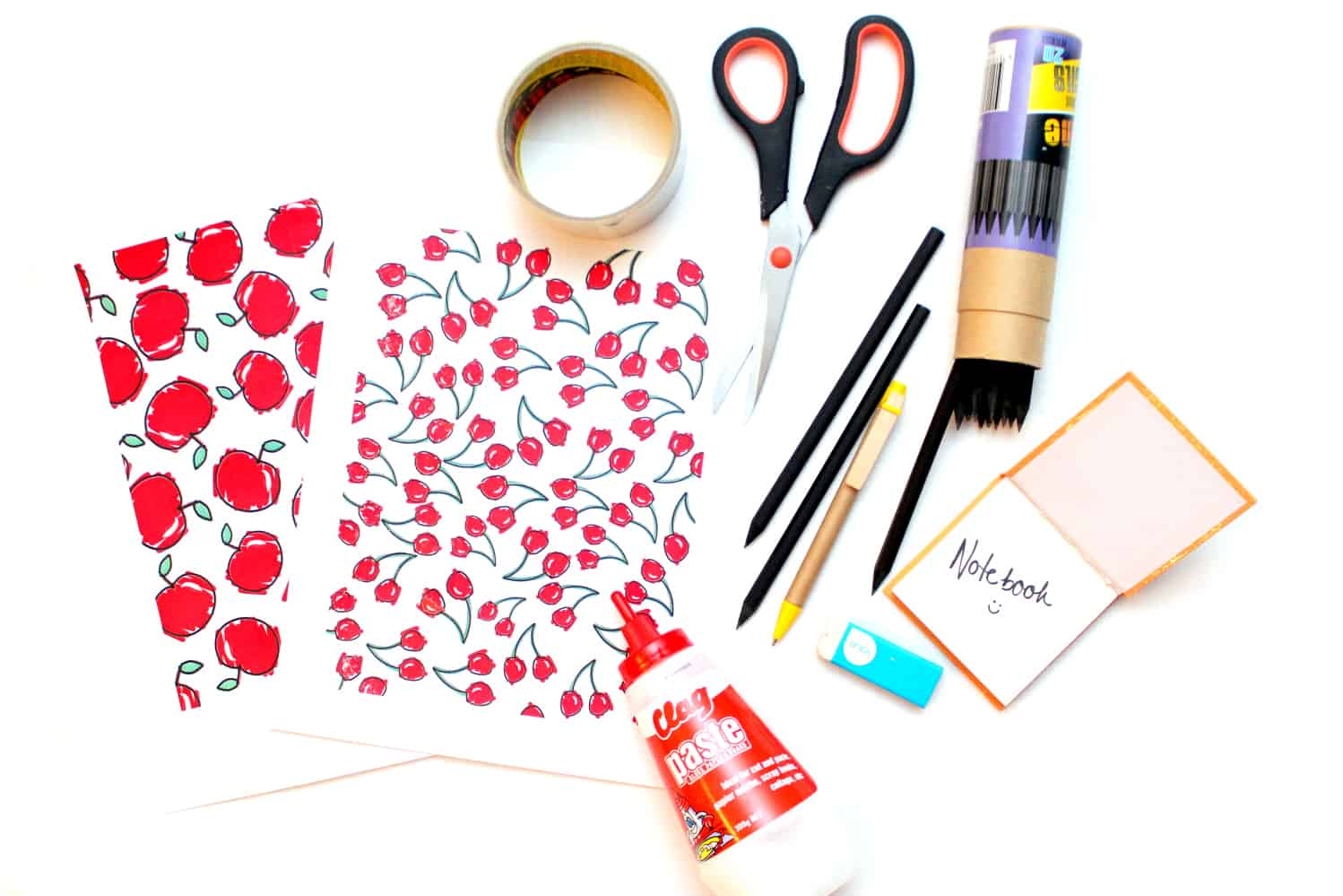 Cute cherry and apple stationery set