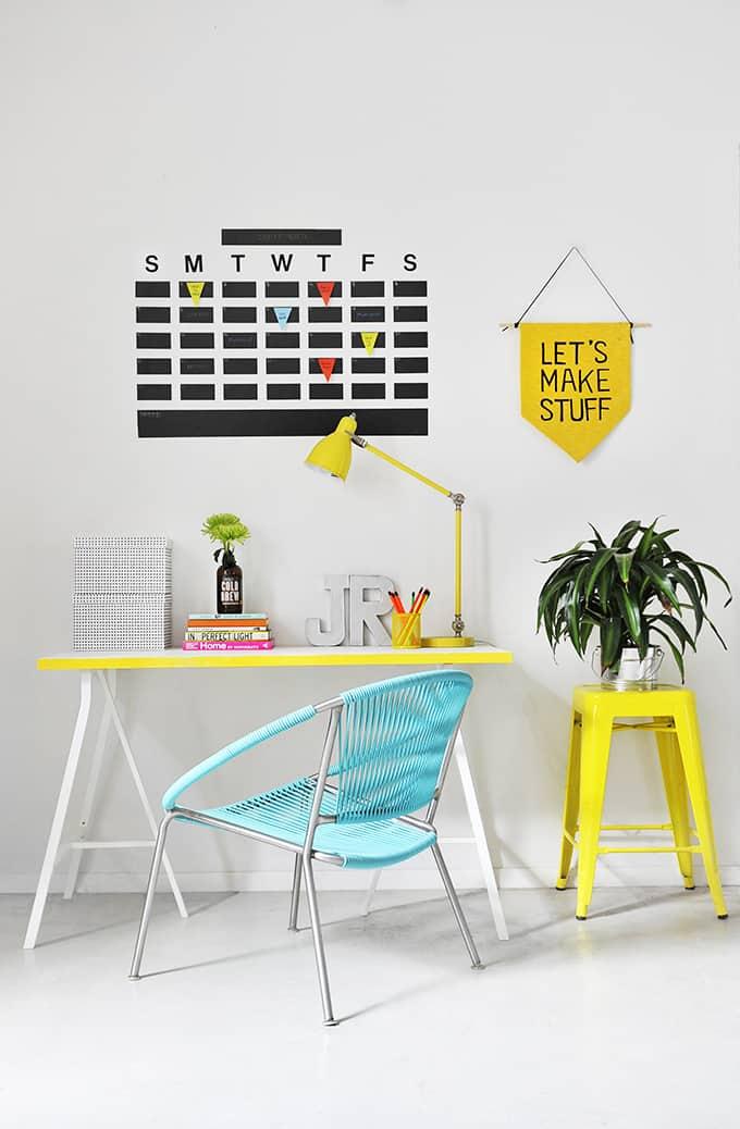 DIY chalkboard tape wall calendar