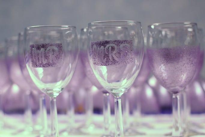 DIY glittered letter wine glasses