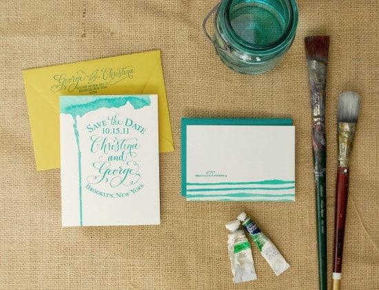 DIY hand watercoloured statonery