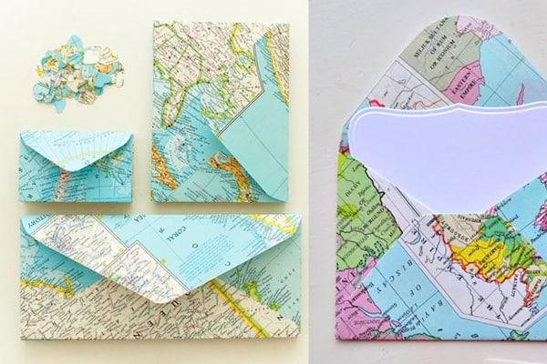 DIY map stationery