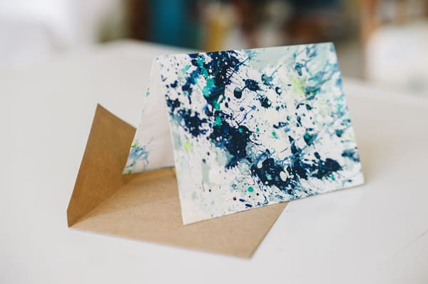 DIY paint splatter notecards