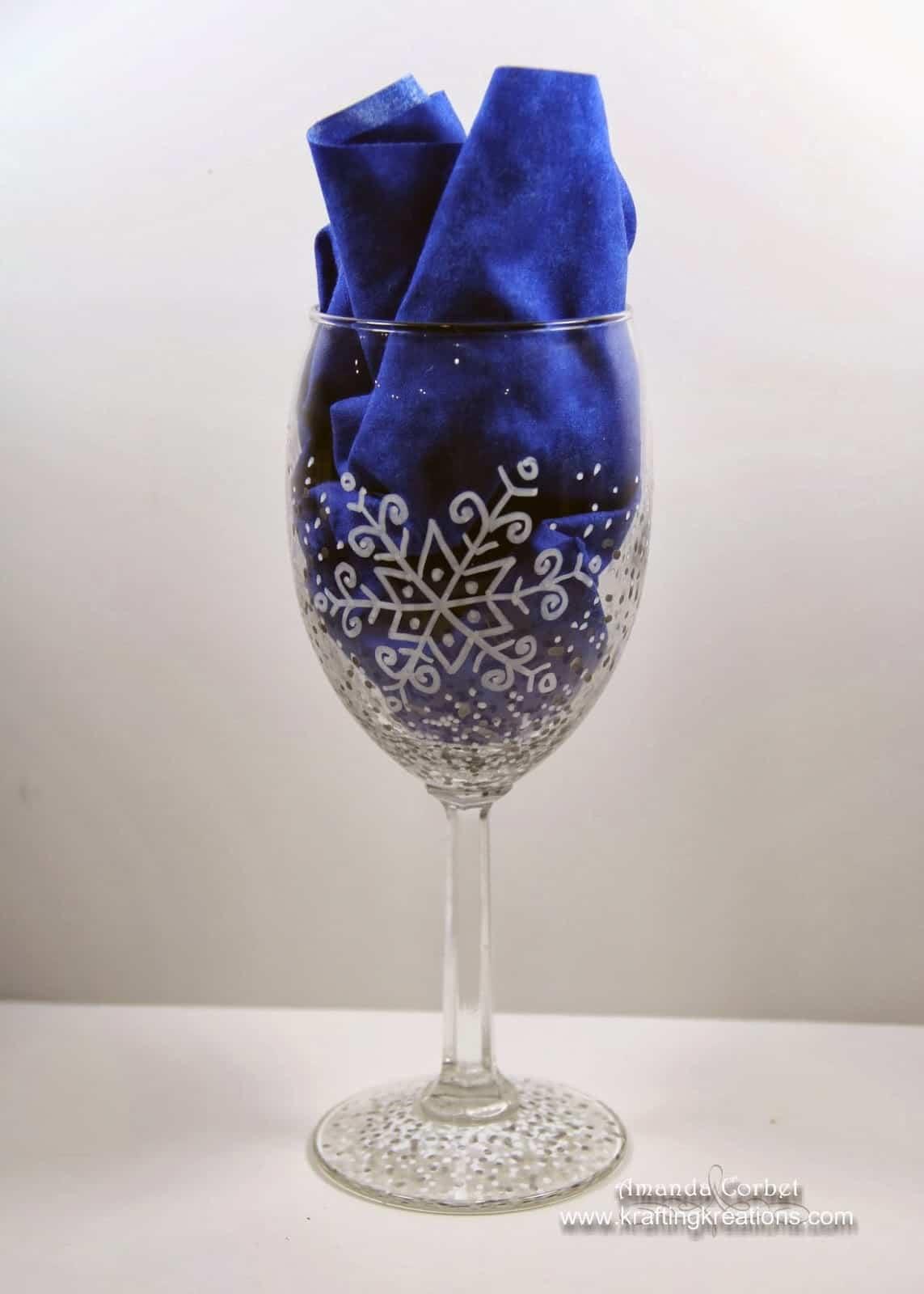 DIY snowflake wine glasses