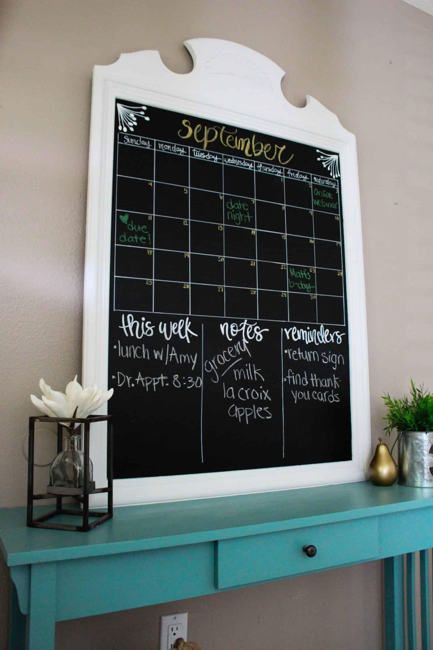 DIY thrft shop mirror to chalkboard calendar