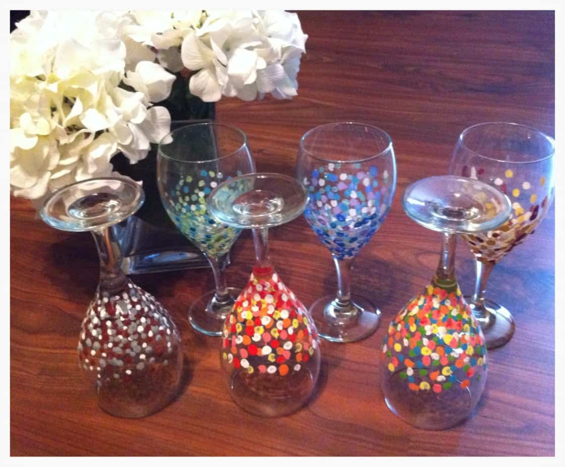 Easy hand painted polka dot wine glasses