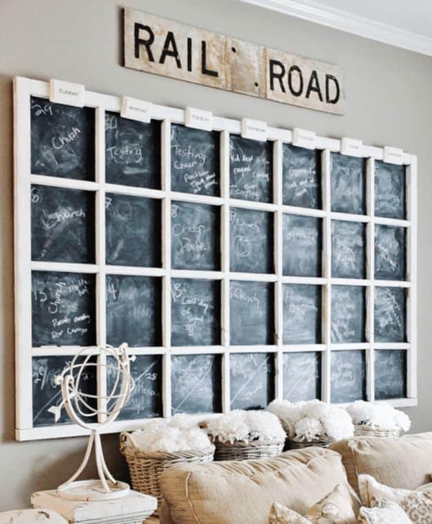Giant grid chalkboard calendar