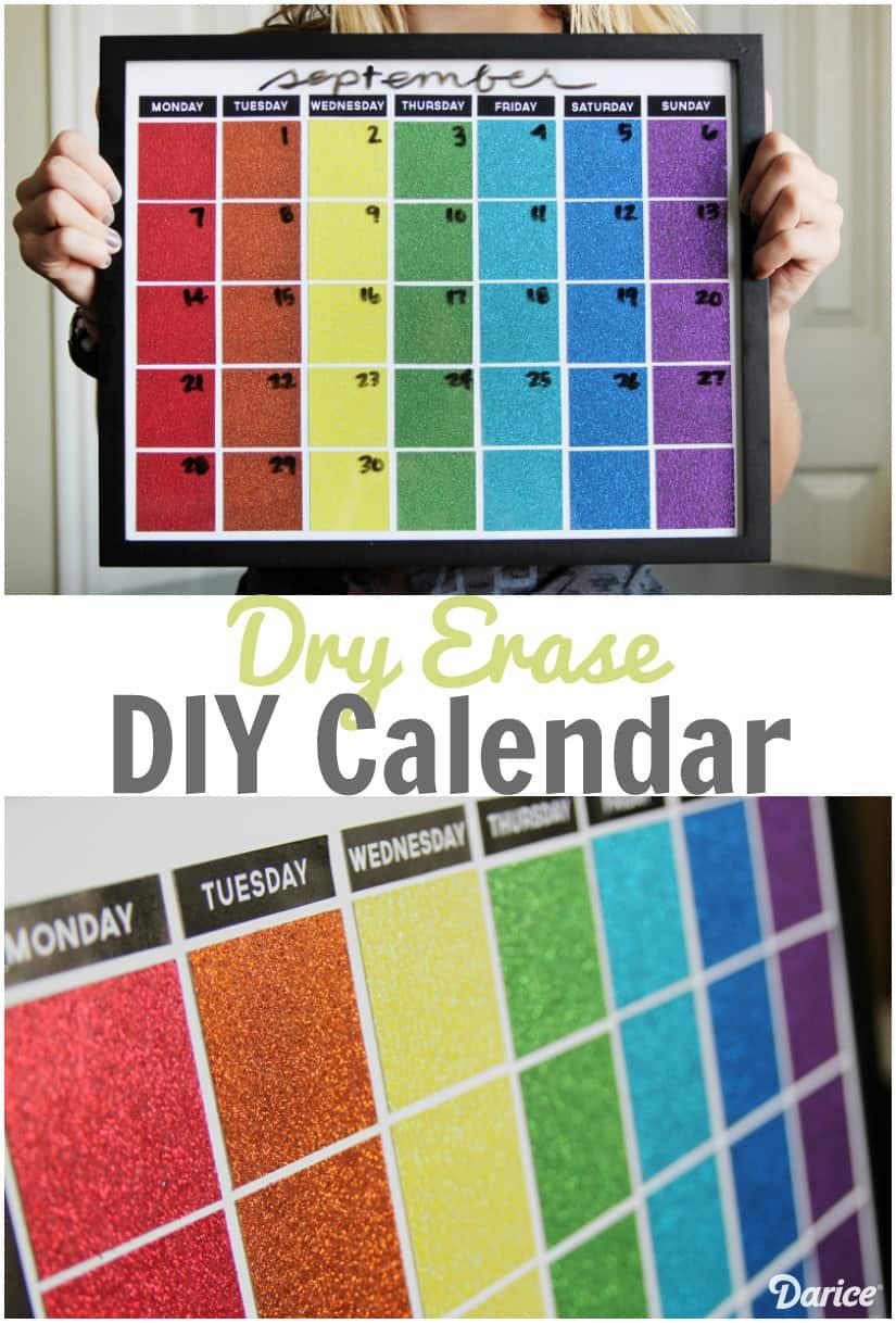 Glittery DIY dry erase calendar