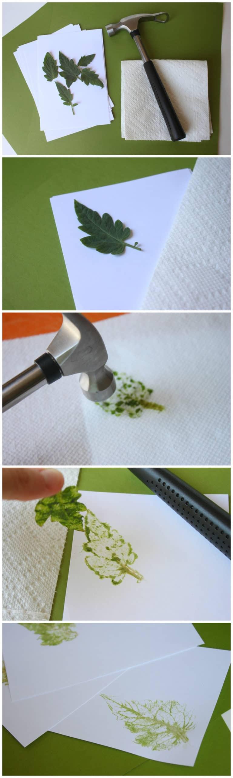 Hammered leaf imprint cards