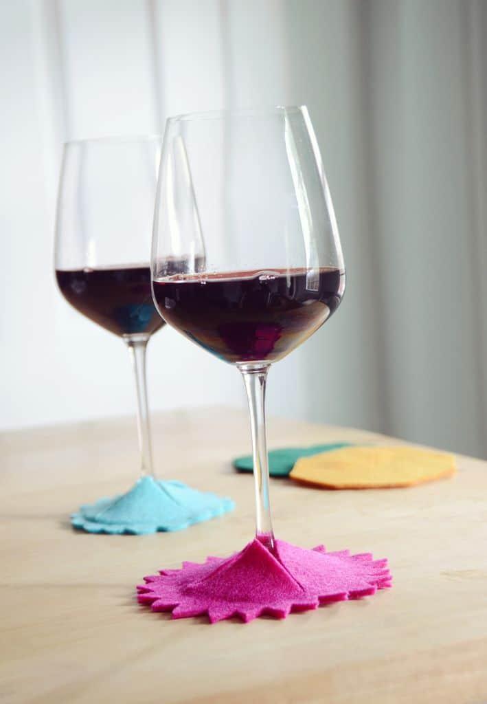No-sew felt wine glass base coasters