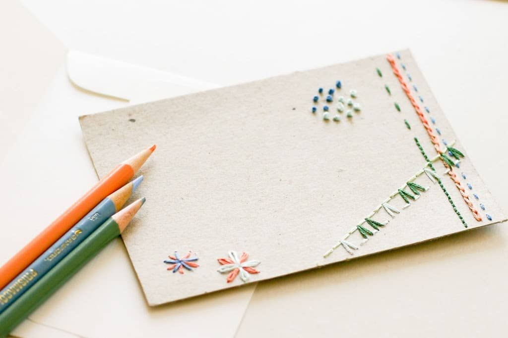 Pretty hand embroidered notecards