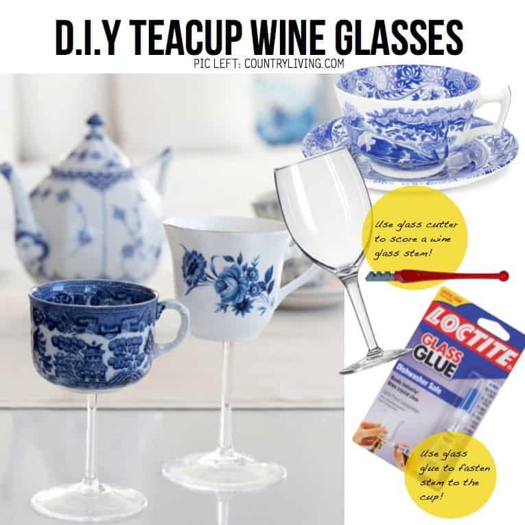 Pretty teacup wine glasses