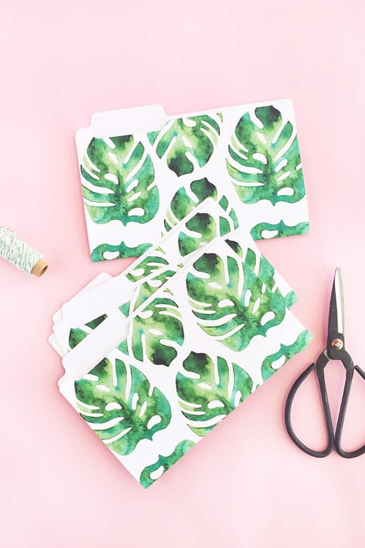 Pretty tropical DIY stationery folders