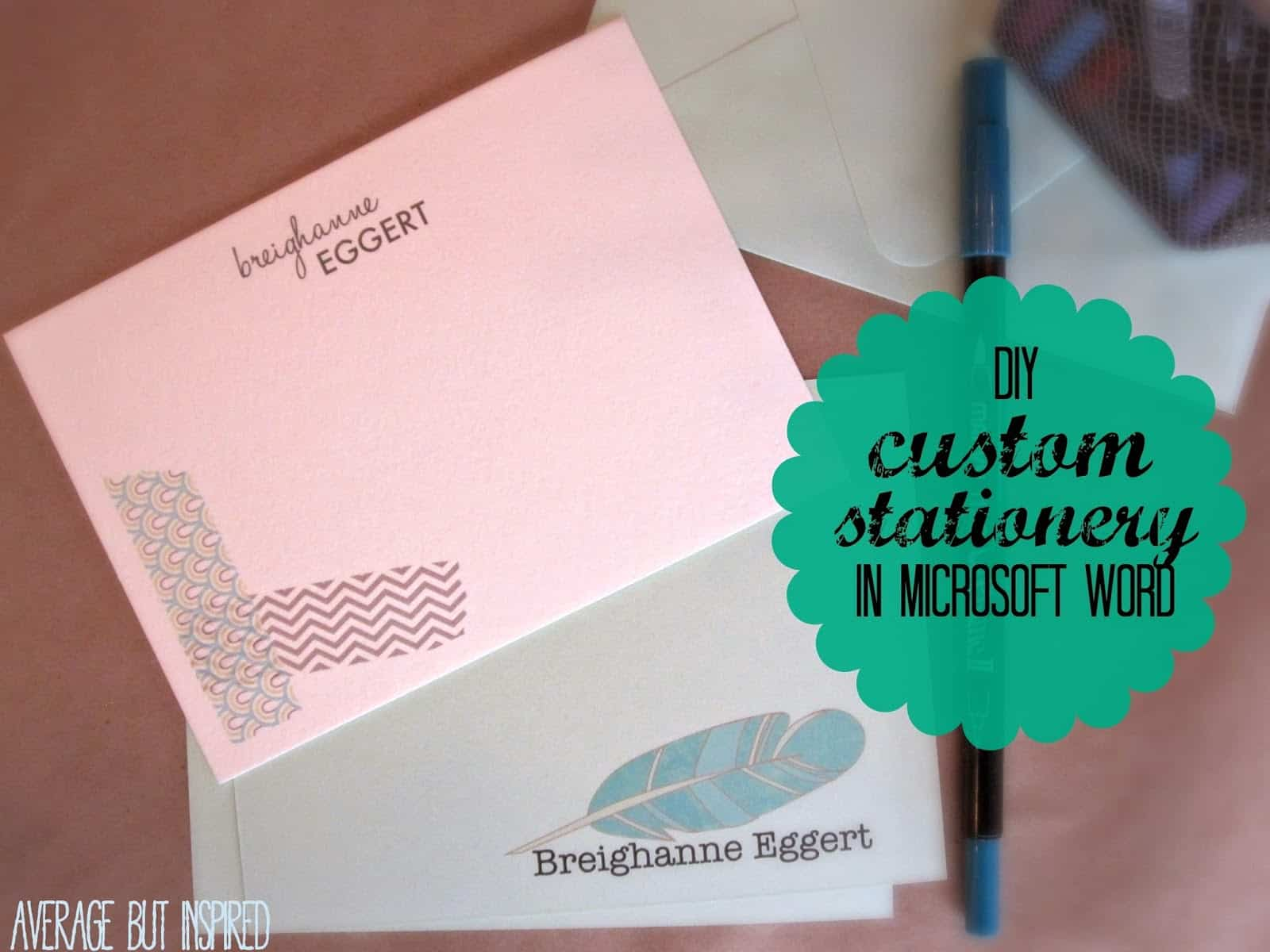 Simple custom stationery made in Microsoft Word