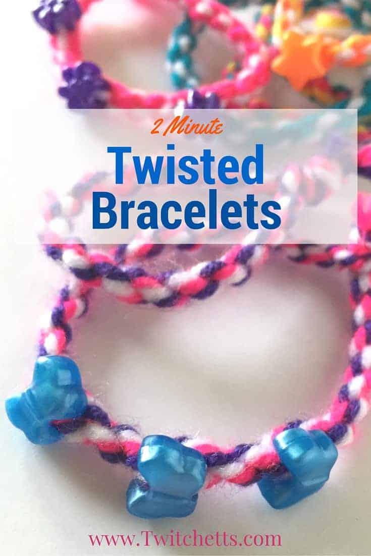 2-minute twisted yarn bracelets