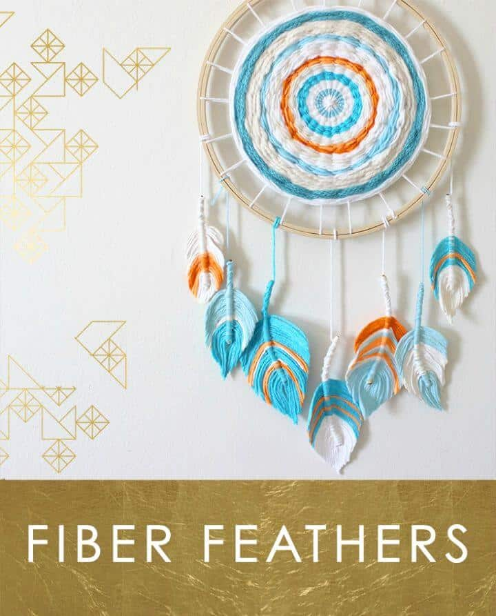Beautiful yarn and feather dream catcher