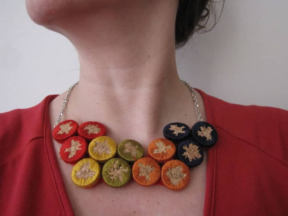 Cork embroidery necklace 15 Creative DIY Wine Cork Projects