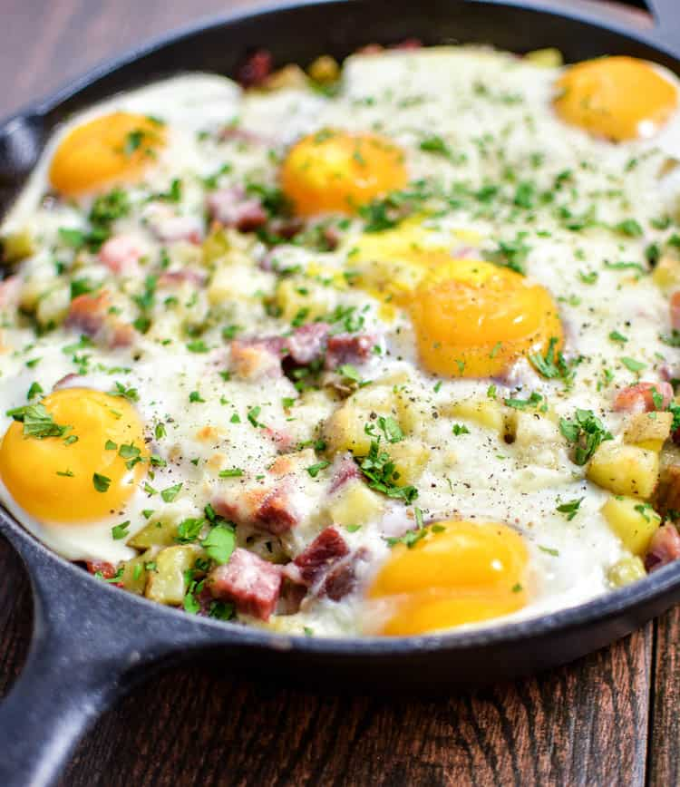 Corned beef hash and baked eggs