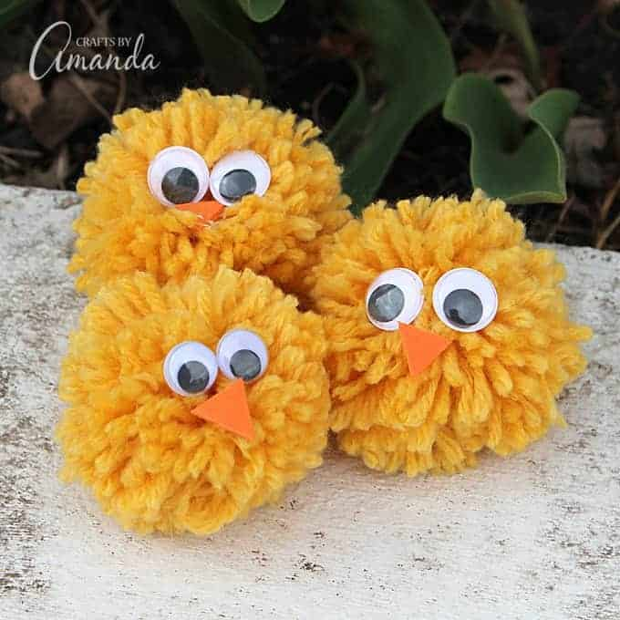 Cute yarn pom pom chicks