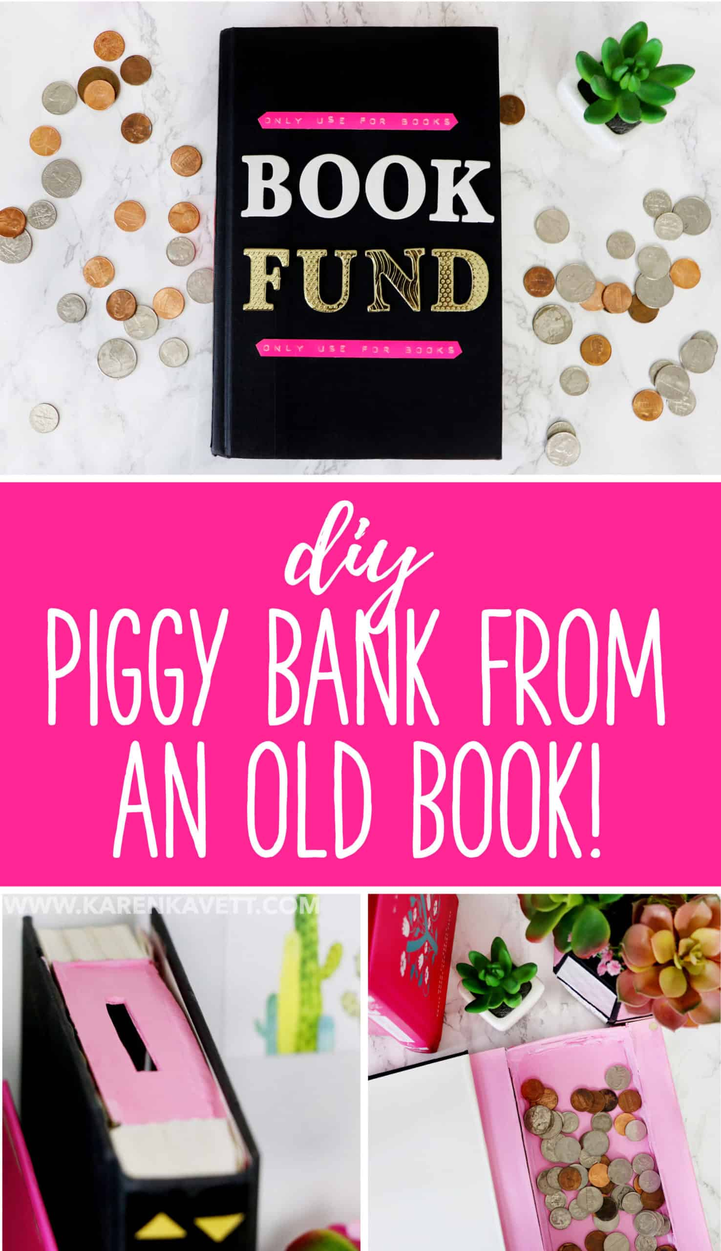 DIY book piggybank