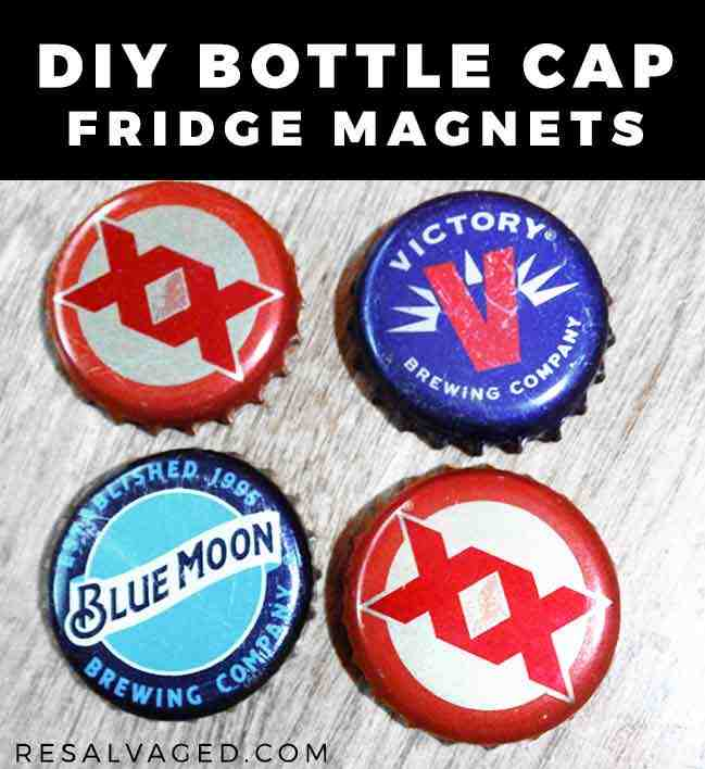 DIY bottle cap fridge magnets