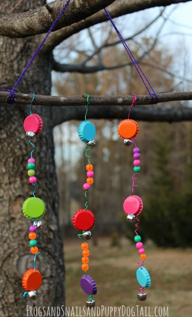 DIY bottle cap wind chimes