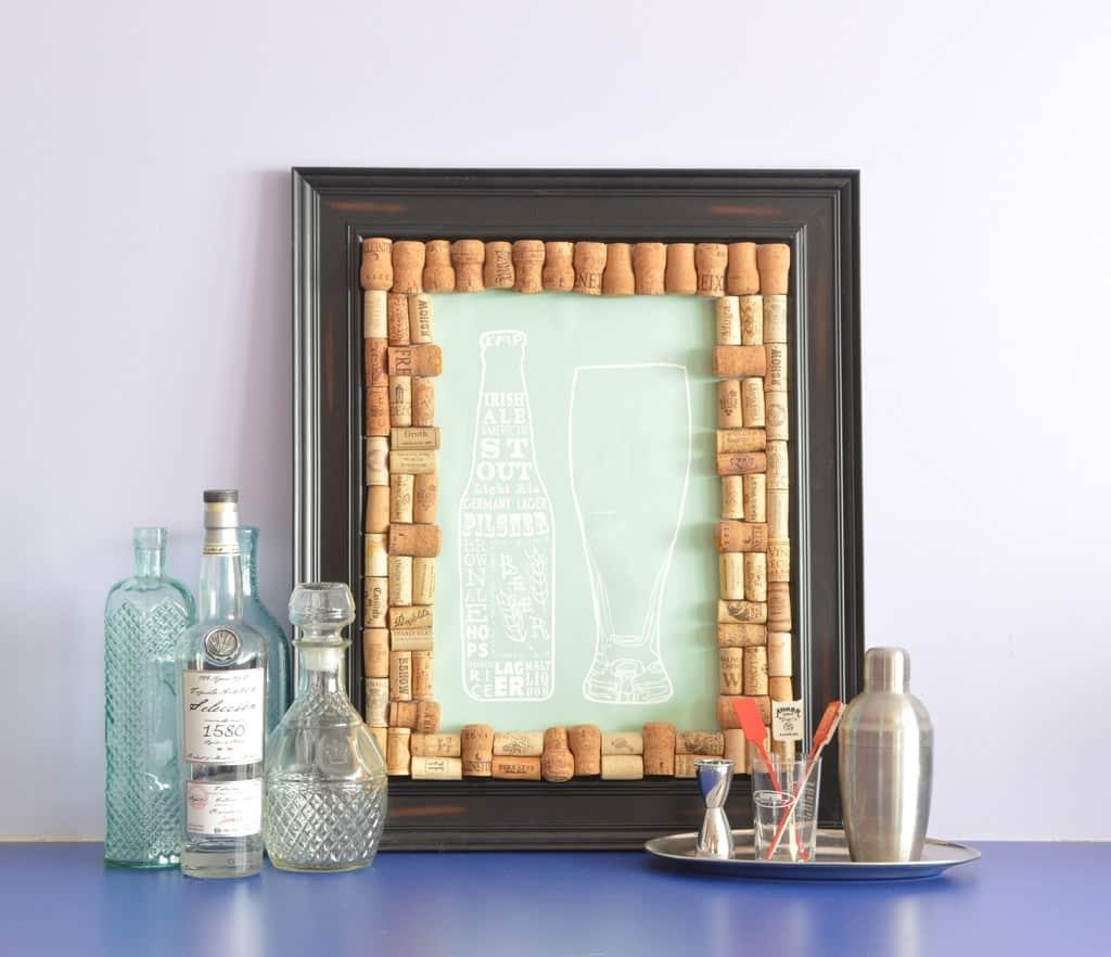 DIY cork picture frame matte