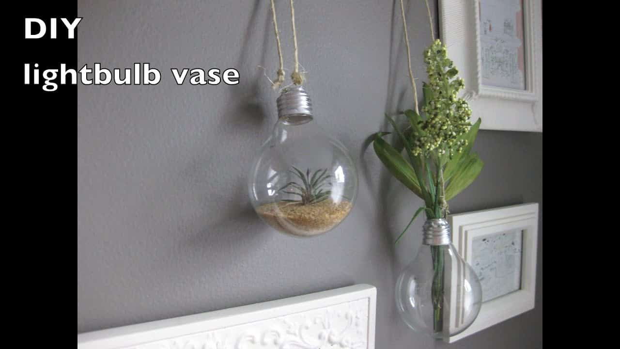 DIY hanging lightbulb vase