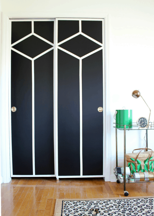 DIY painted and patterned doors using painters tape Using Painter's Tape to Decorate Your Home