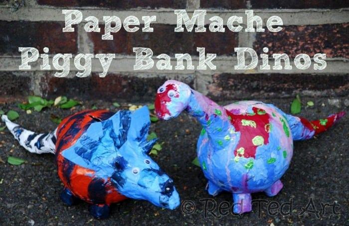 DIY paper mache piggybank dinos