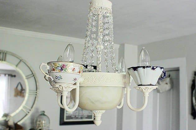 DIY teacup chandelier