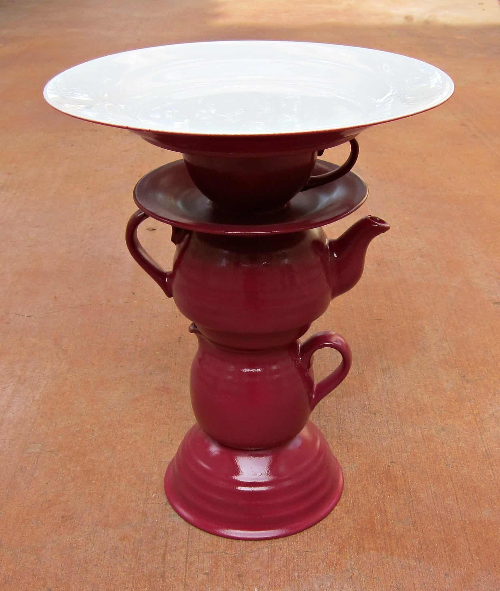 DIY teapot cake stand