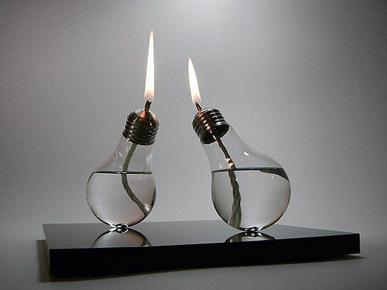 Lightbulb oil lamps