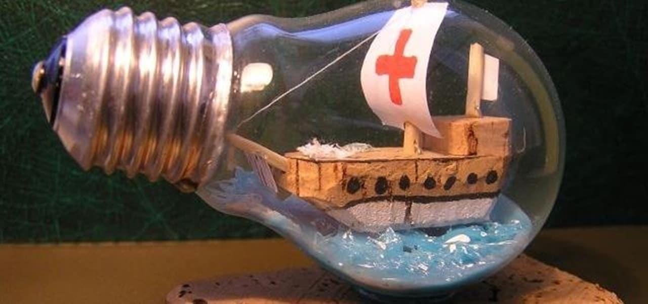 Lightbulb ship in a bottle craft