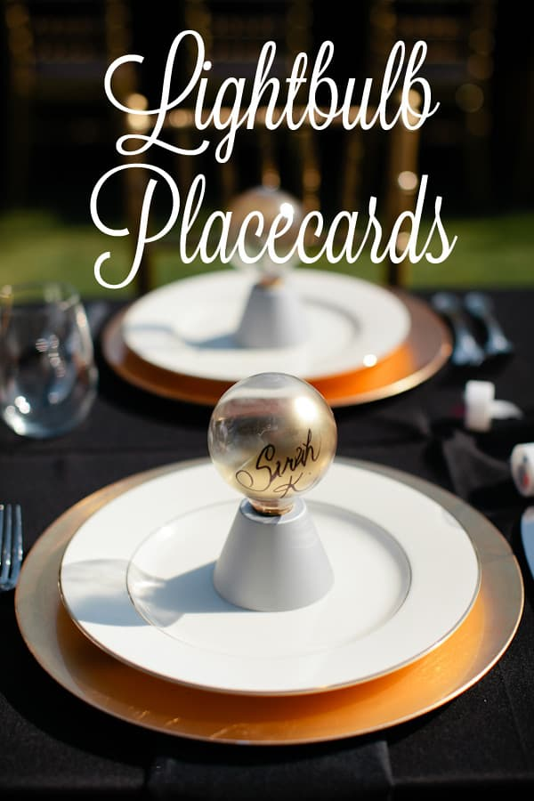 Lightbulb topiry place cards