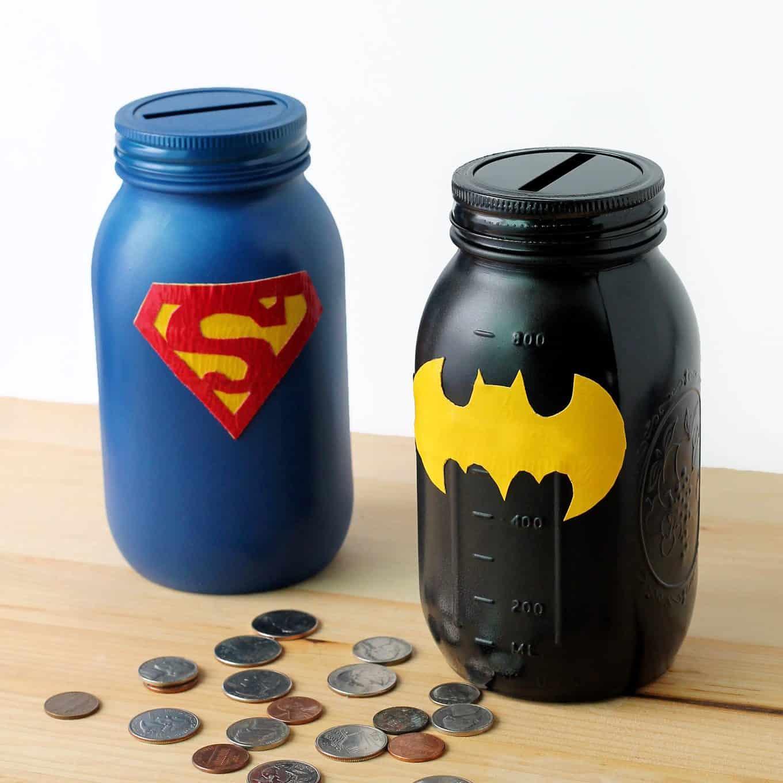 Mason jar super hero banks