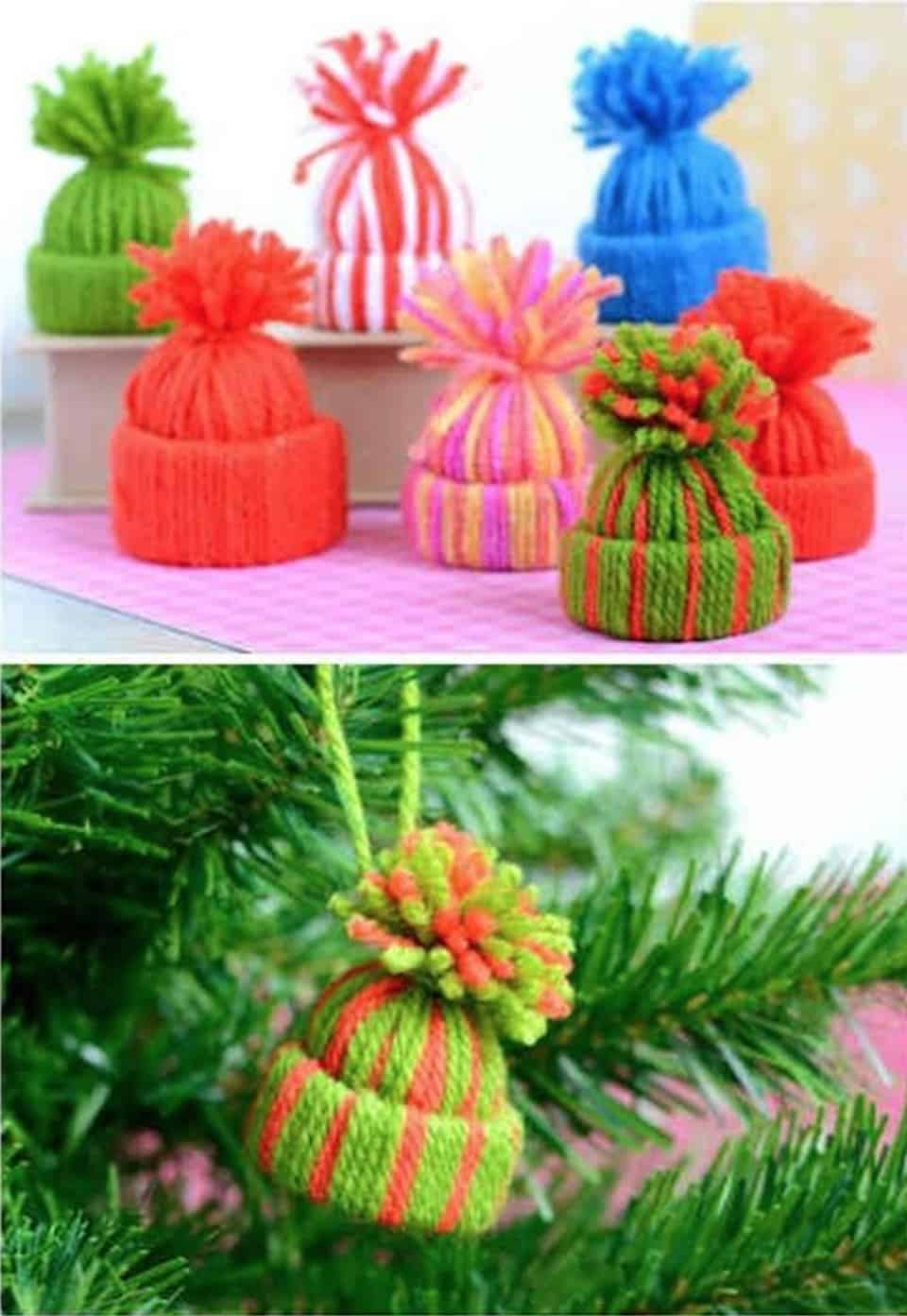 Mini yarn hat ornaments