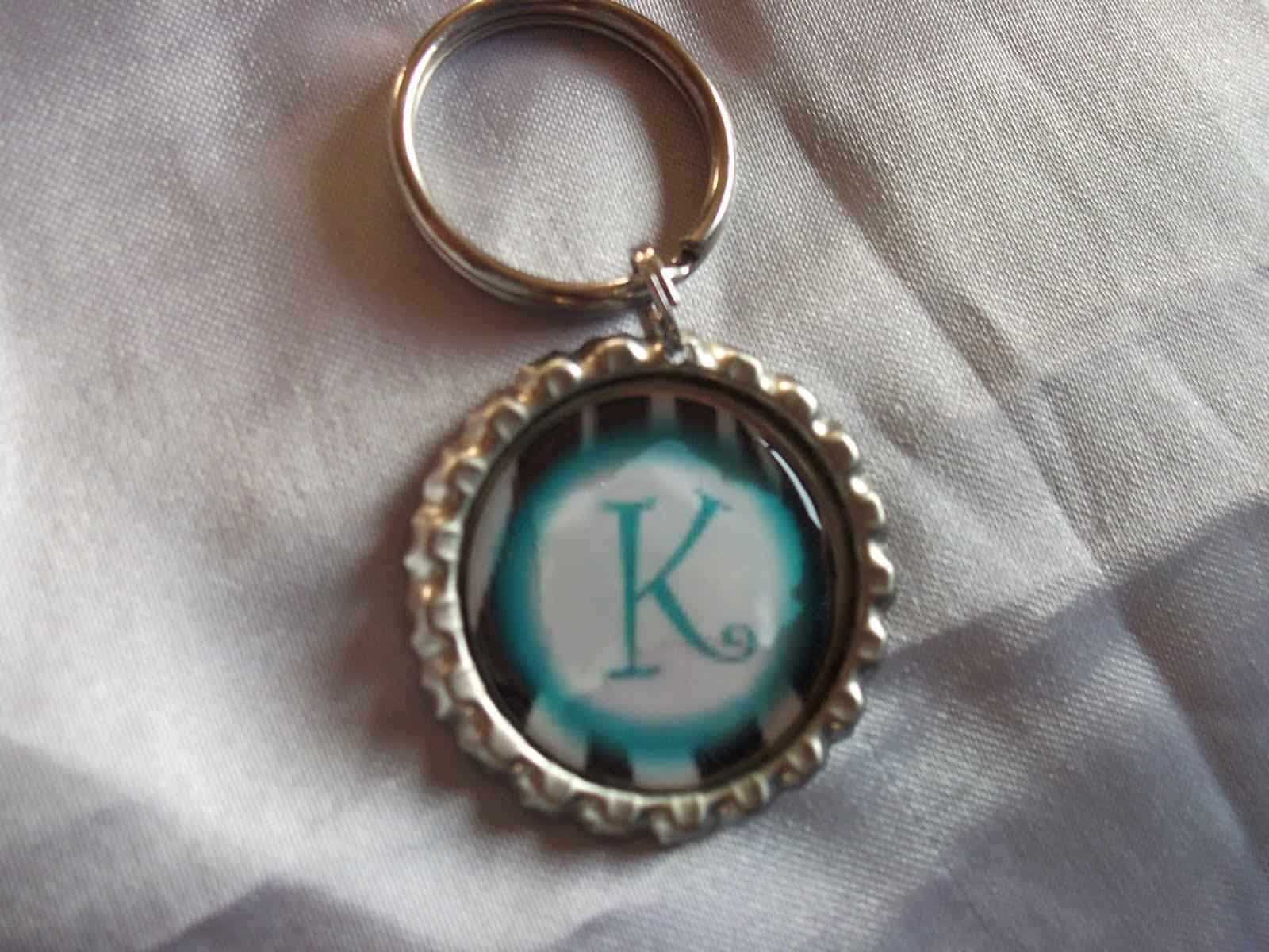 Monogram bottle cap keychain