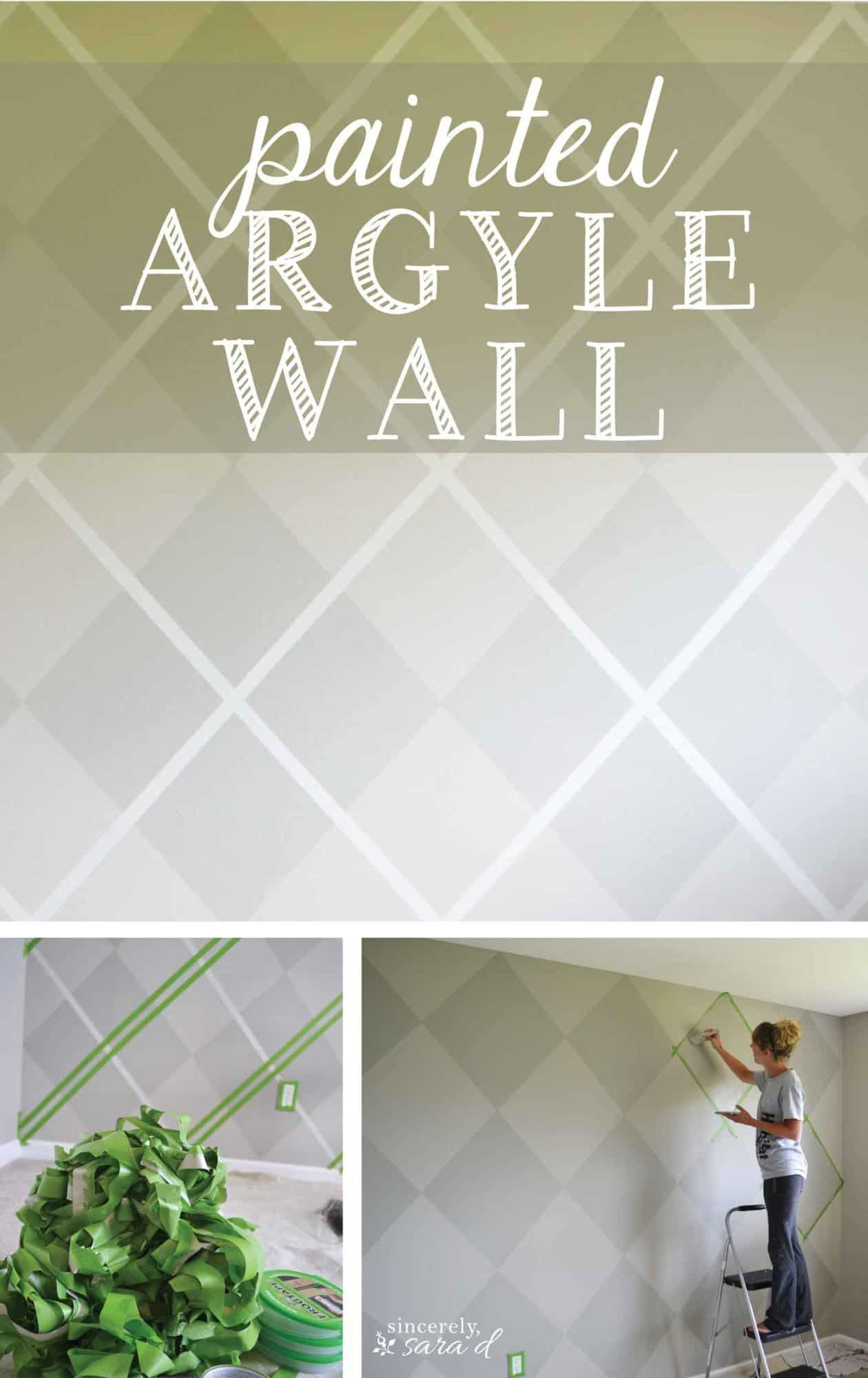 Painter's tape argyle patterned wall