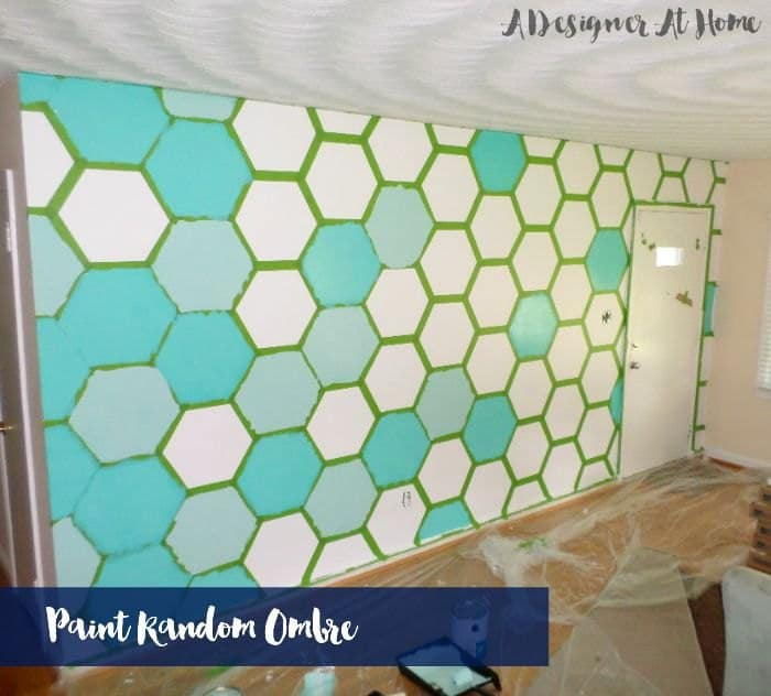 Painter's tape hexagon patterned wall