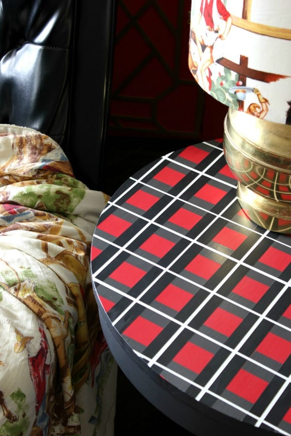 Painter's tape plaid patterned tabletop