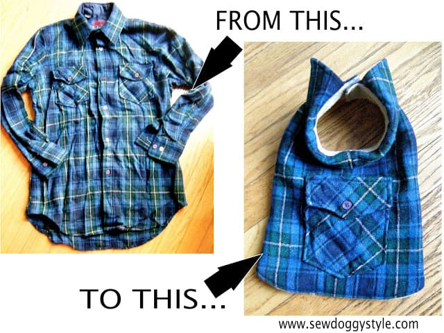 Pet coat from an old plaid shirt